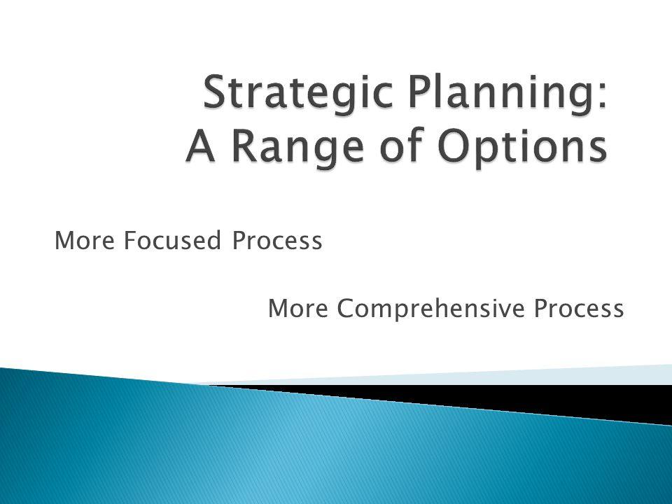 Strategic Planning: A Range of Options