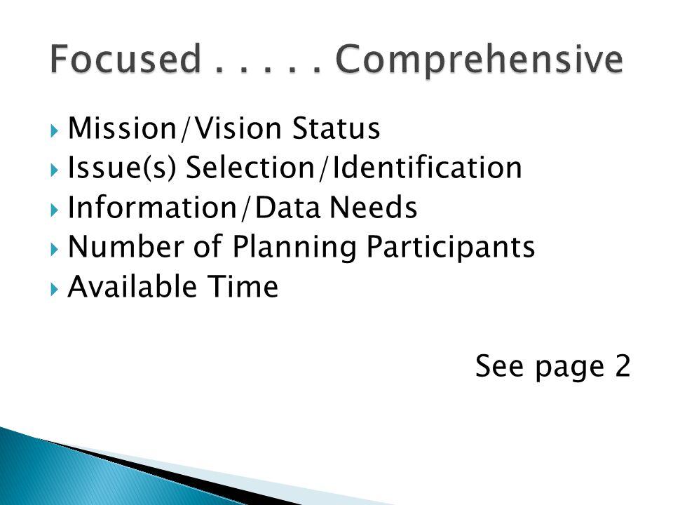 Focused . . . . . Comprehensive