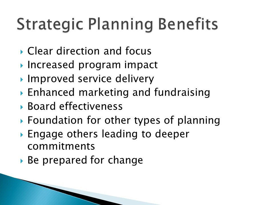 Strategic Planning Benefits