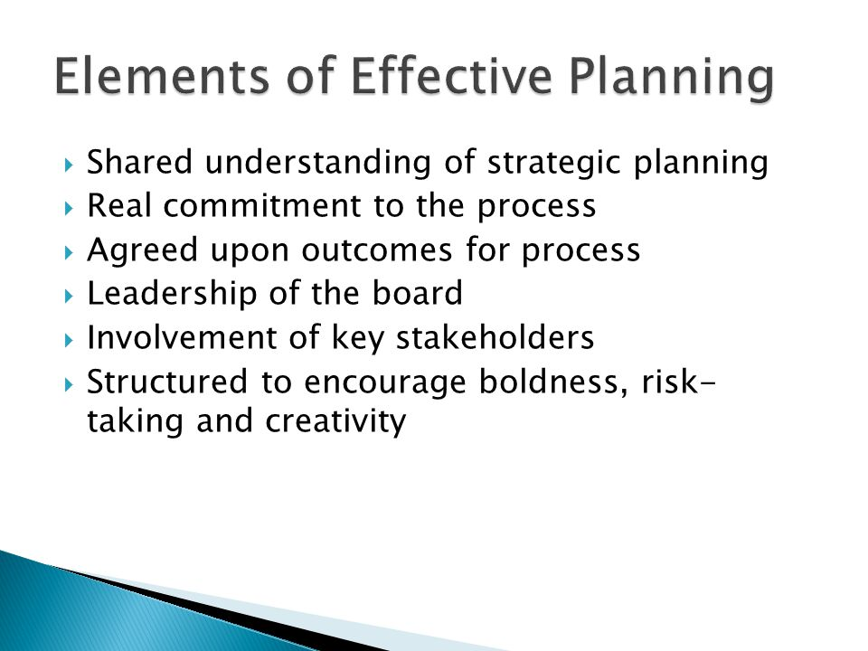 Elements of Effective Planning