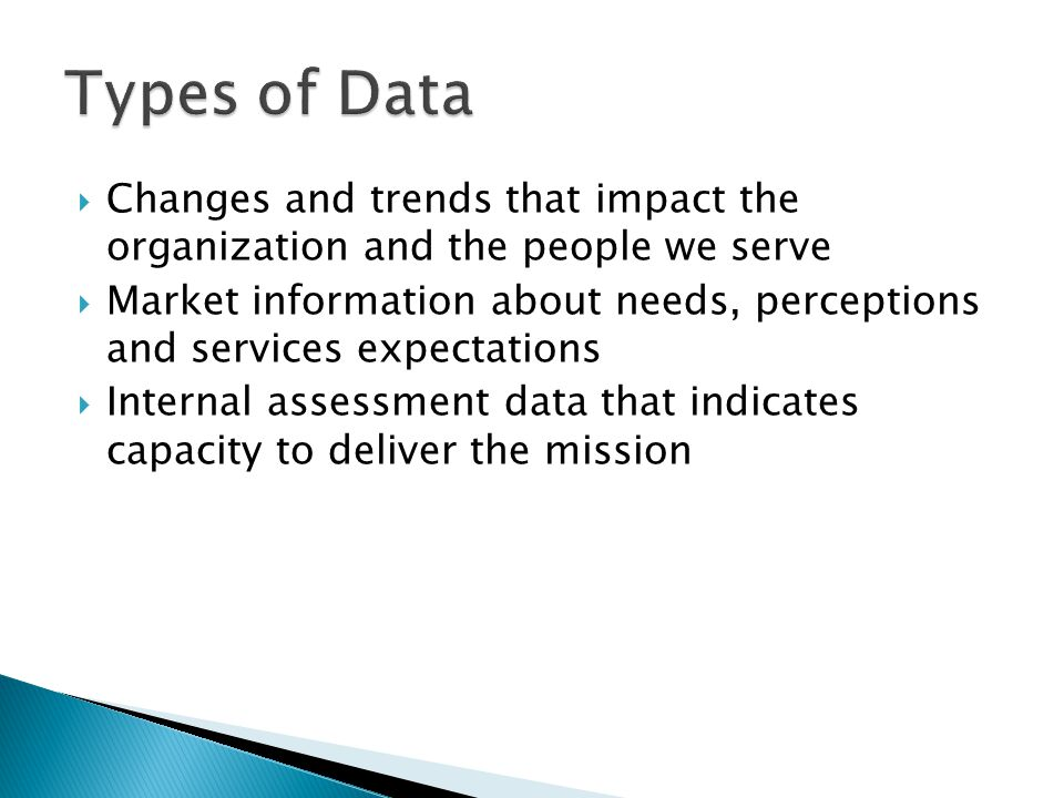 Types of Data Changes and trends that impact the organization and the people we serve.