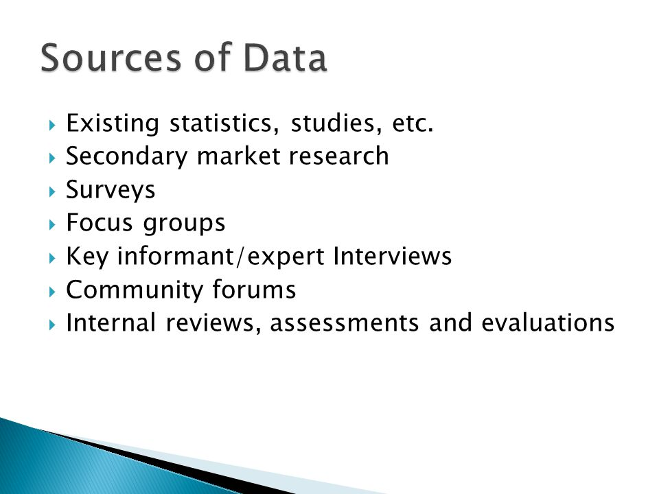 Sources of Data Existing statistics, studies, etc.