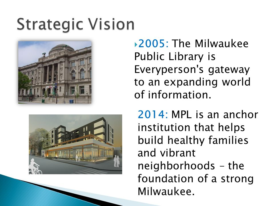 Strategic Vision 2005: The Milwaukee Public Library is Everyperson s gateway to an expanding world of information.