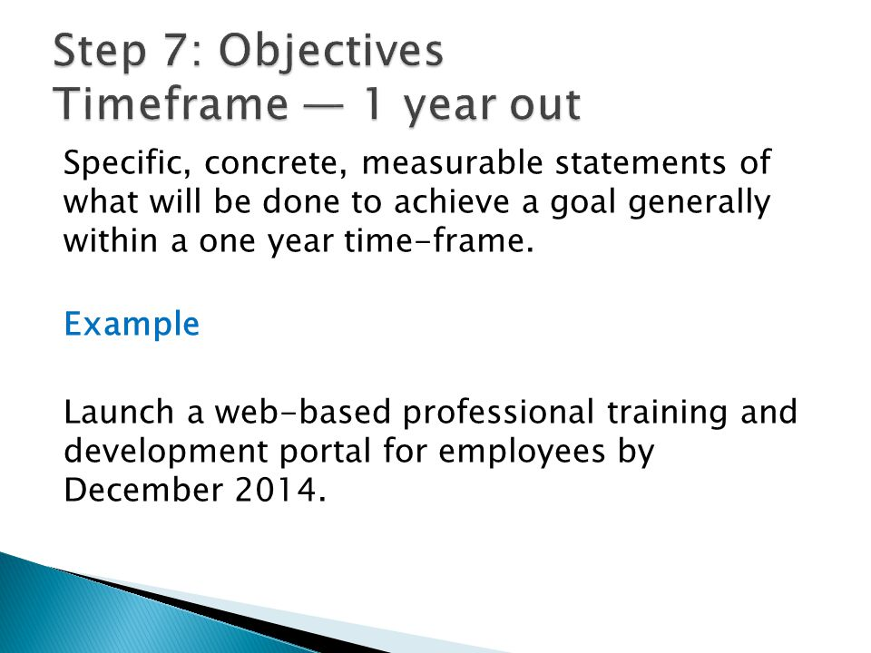 Step 7: Objectives Timeframe — 1 year out