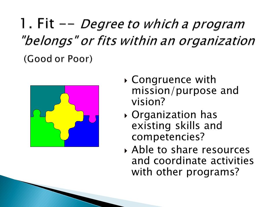 1. Fit -- Degree to which a program belongs or fits within an organization (Good or Poor)