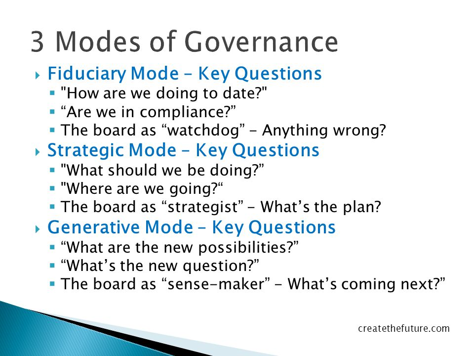 3 Modes of Governance Fiduciary Mode – Key Questions