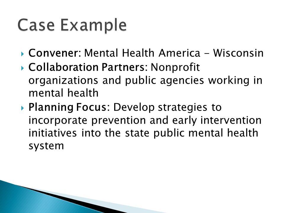 Case Example Convener: Mental Health America - Wisconsin