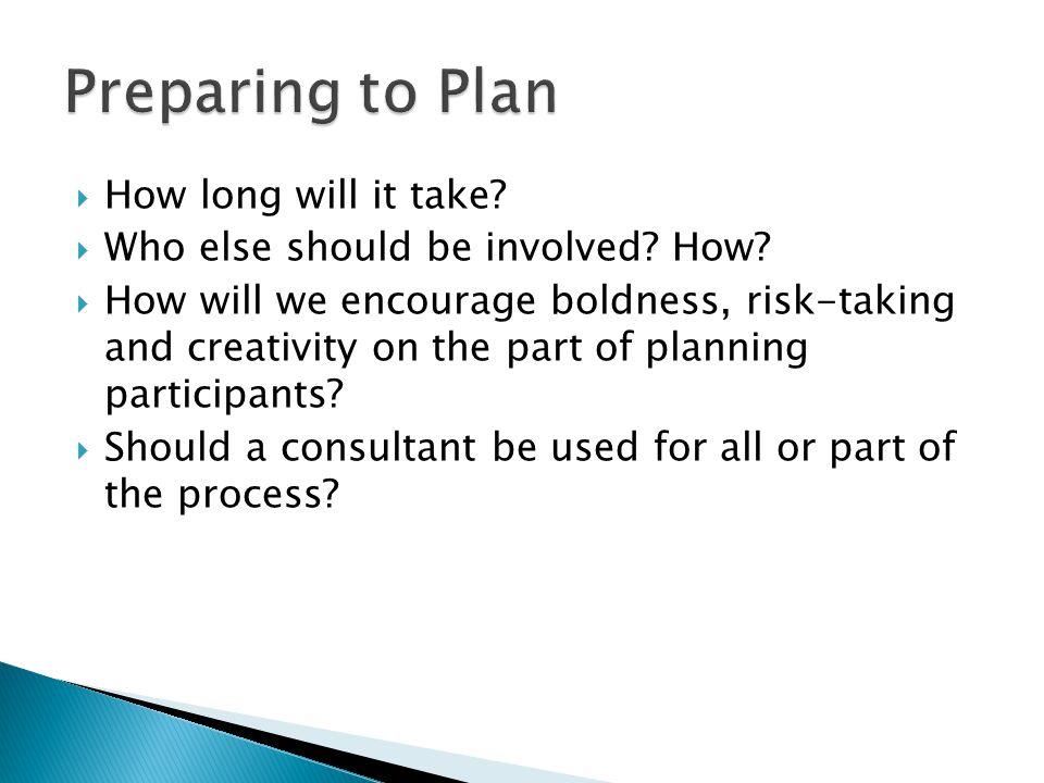 Preparing to Plan How long will it take