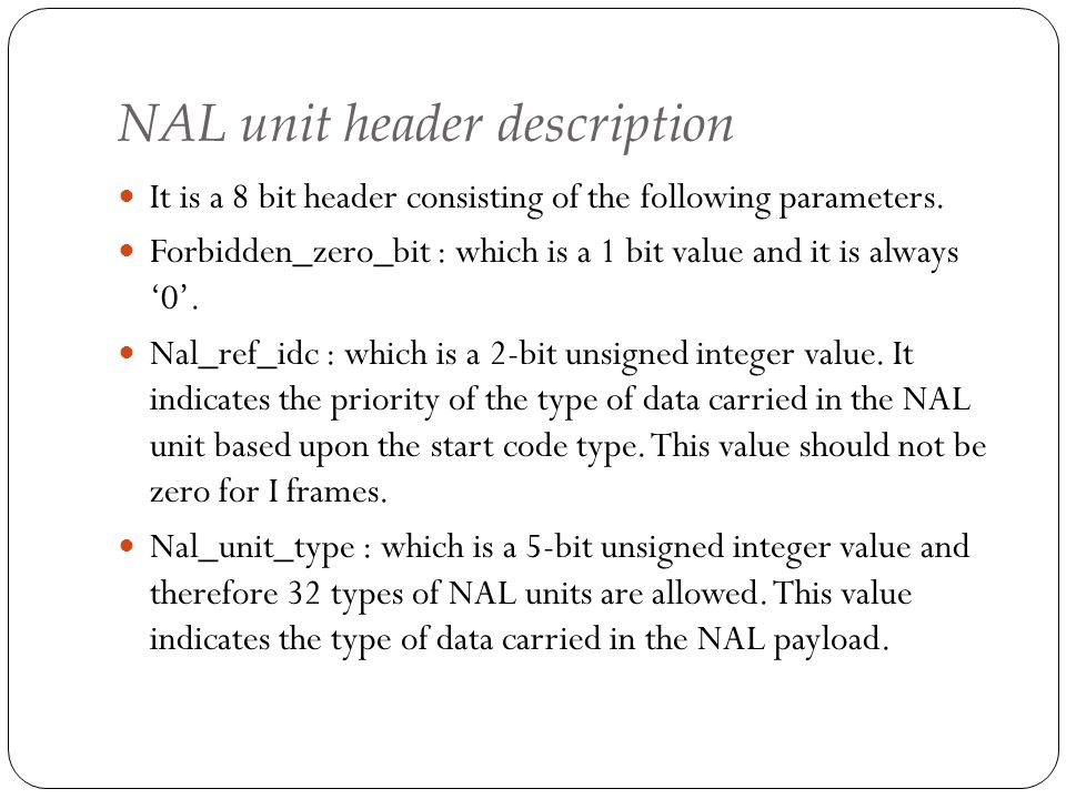 NAL unit header description