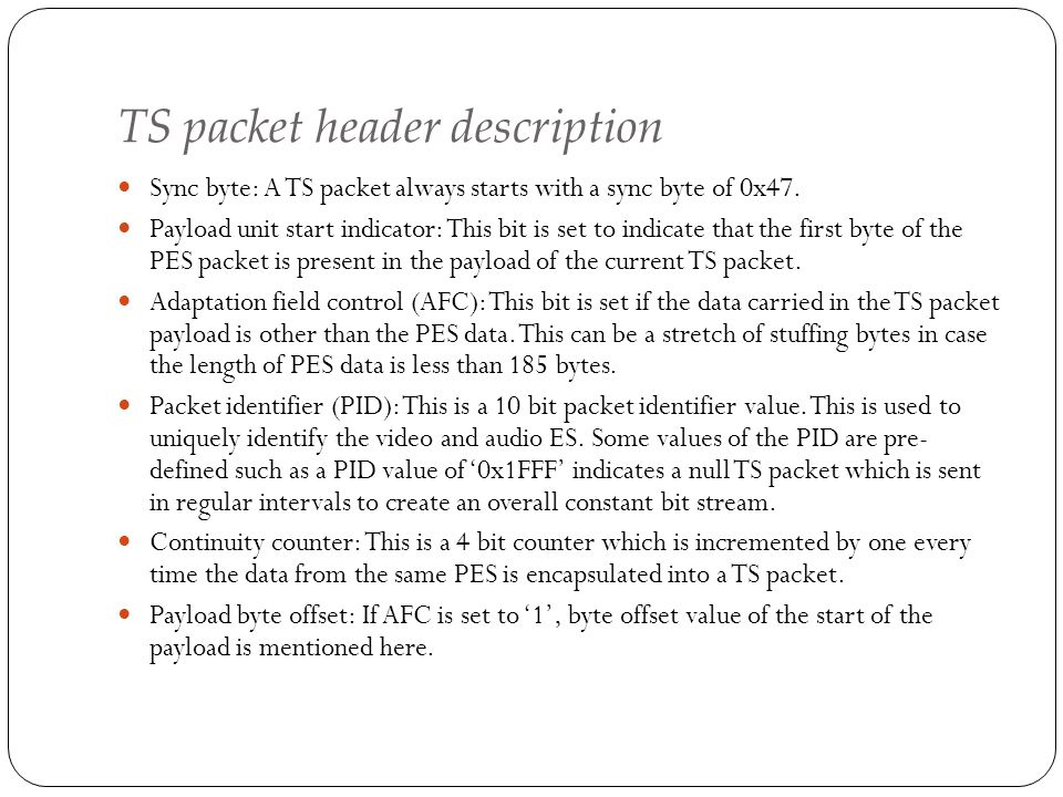 TS packet header description