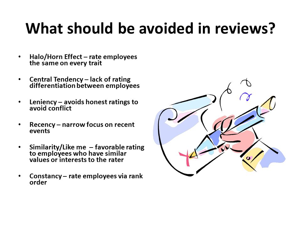 What should be avoided in reviews