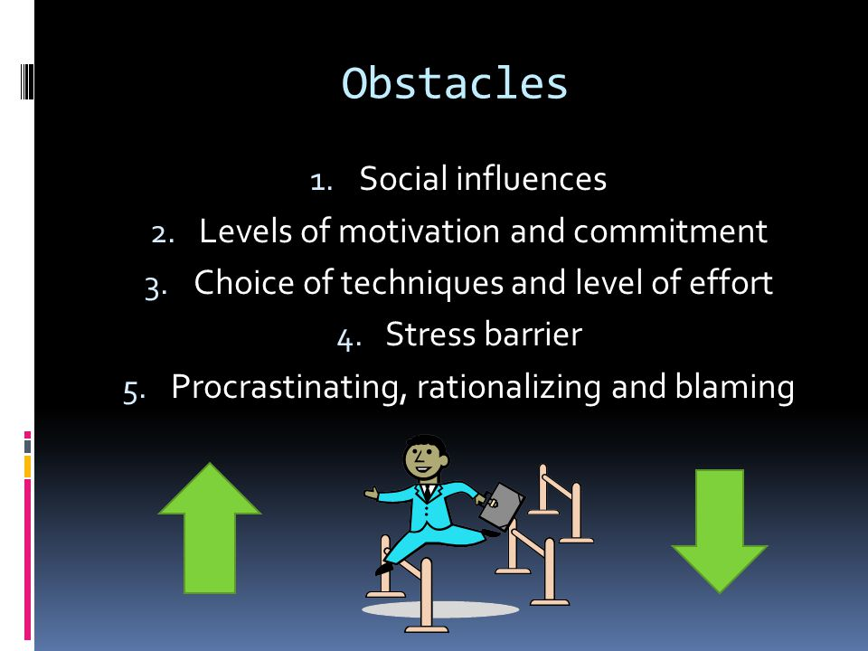 Obstacles Social influences Levels of motivation and commitment