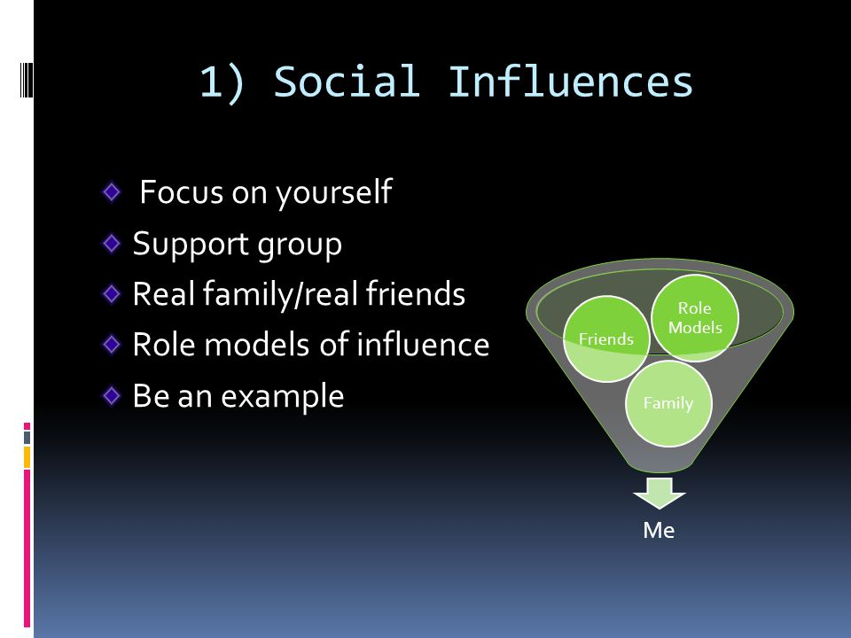 1) Social Influences Focus on yourself Support group
