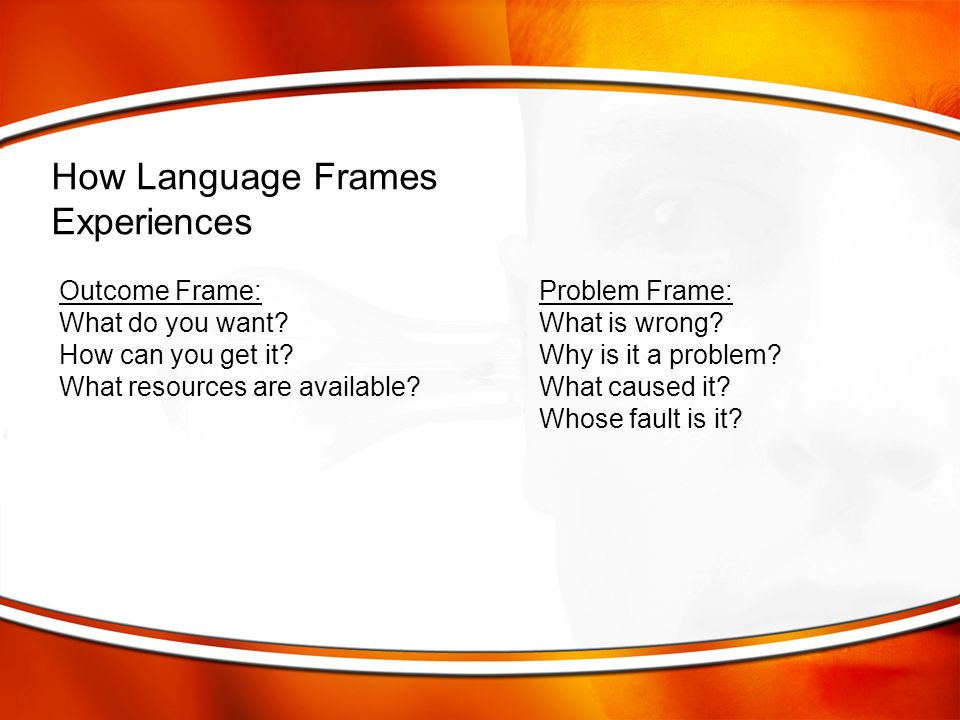 How Language Frames Experiences Outcome Frame: Problem Frame: