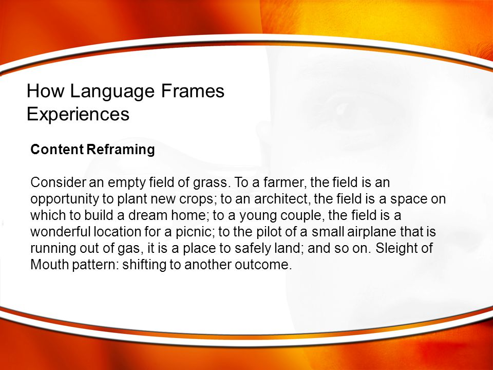 How Language Frames Experiences Content Reframing