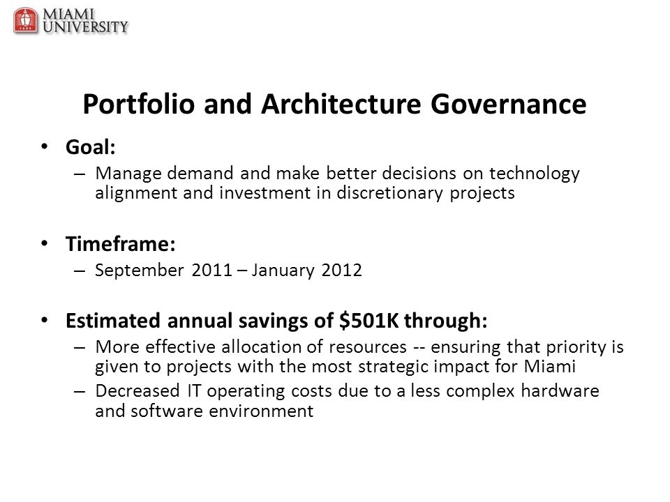 Portfolio and Architecture Governance