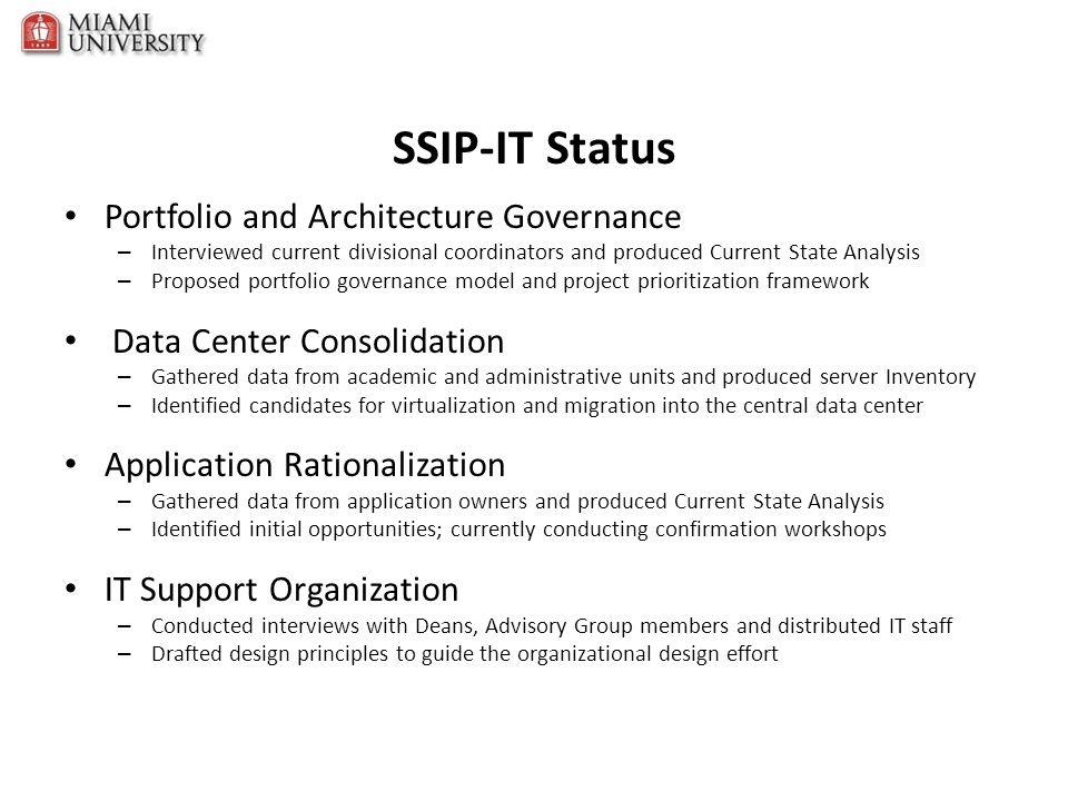 SSIP-IT Status Portfolio and Architecture Governance