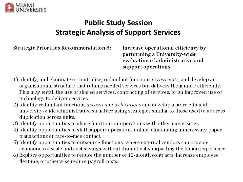 Public Study Session Strategic Analysis of Support Services