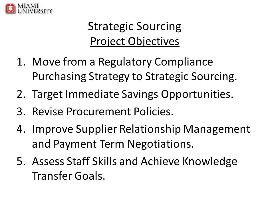 Strategic Sourcing Project Objectives