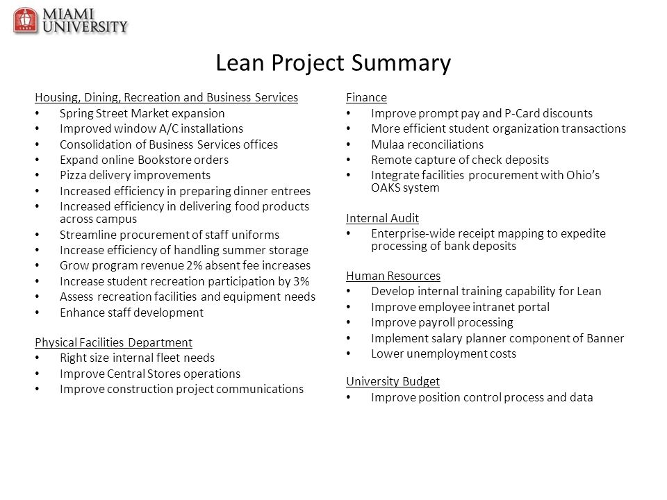 Lean Project Summary Housing, Dining, Recreation and Business Services