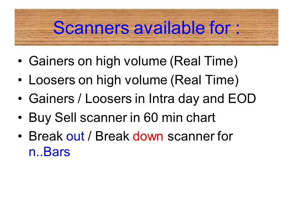 Scanners available for :