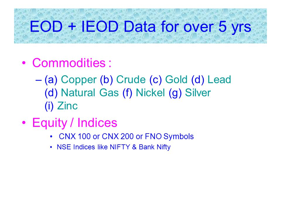 EOD + IEOD Data for over 5 yrs