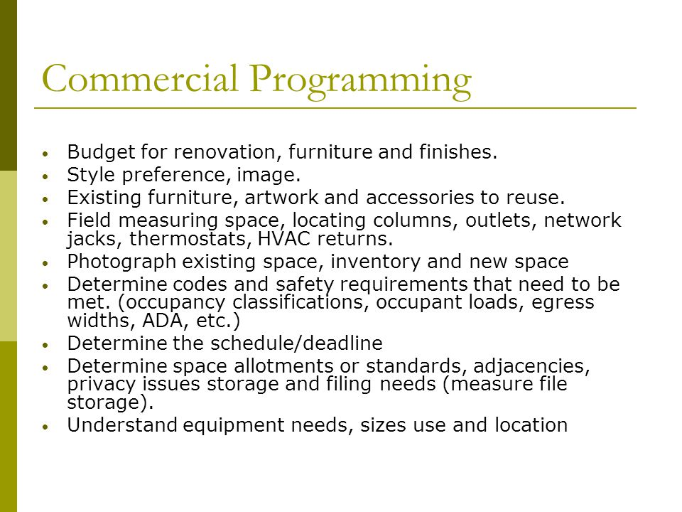 Commercial Programming