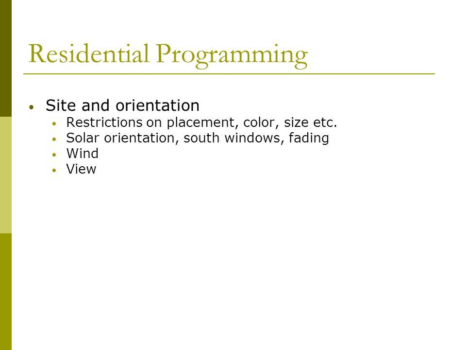 Residential Programming