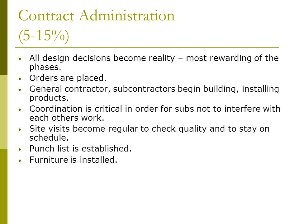 Contract Administration (5-15%)