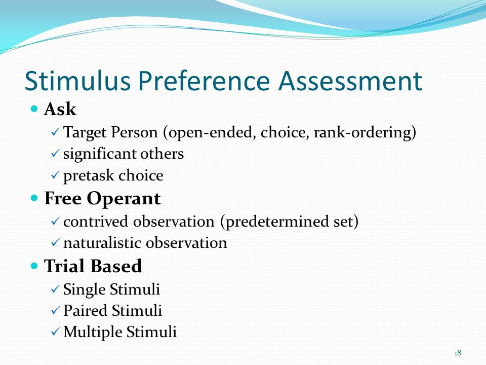 Stimulus Preference Assessment