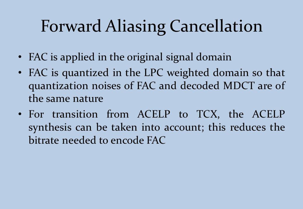 Forward Aliasing Cancellation