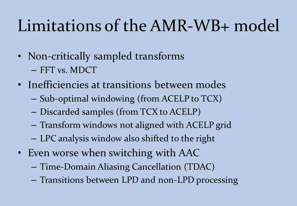 Limitations of the AMR-WB+ model
