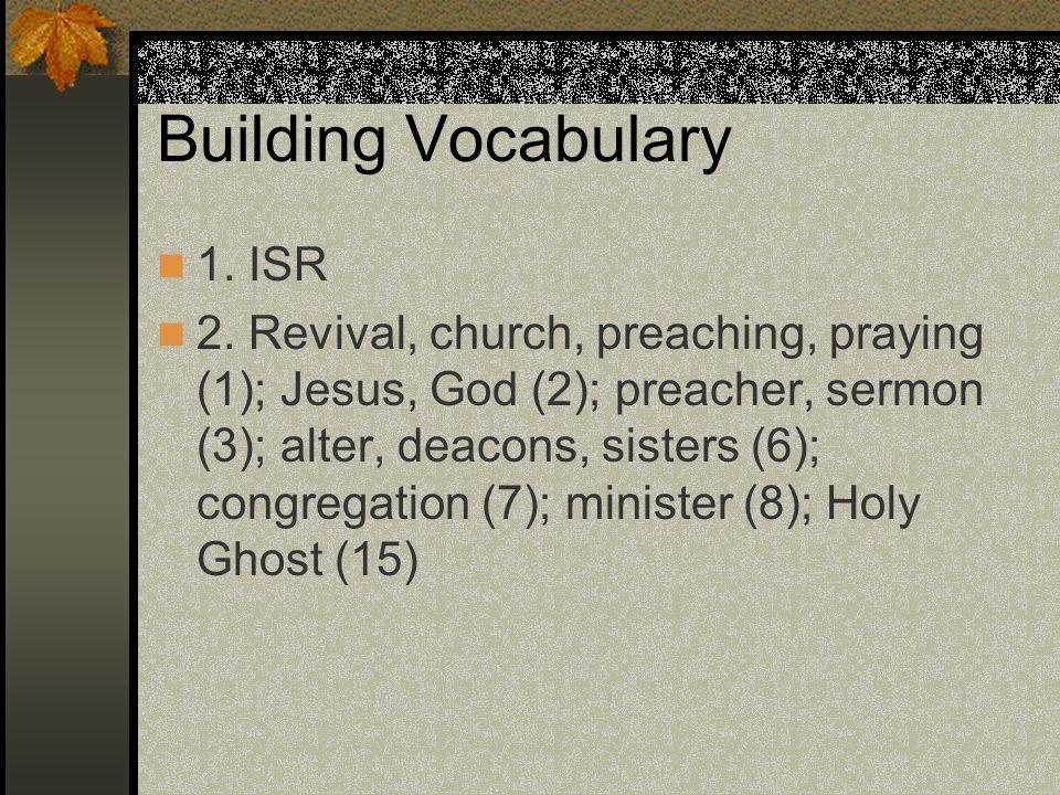 Building Vocabulary 1. ISR