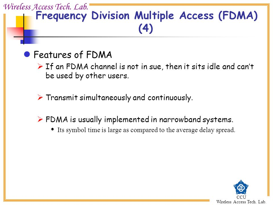 Frequency Division Multiple Access (FDMA) (4)