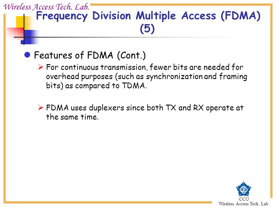 Frequency Division Multiple Access (FDMA) (5)