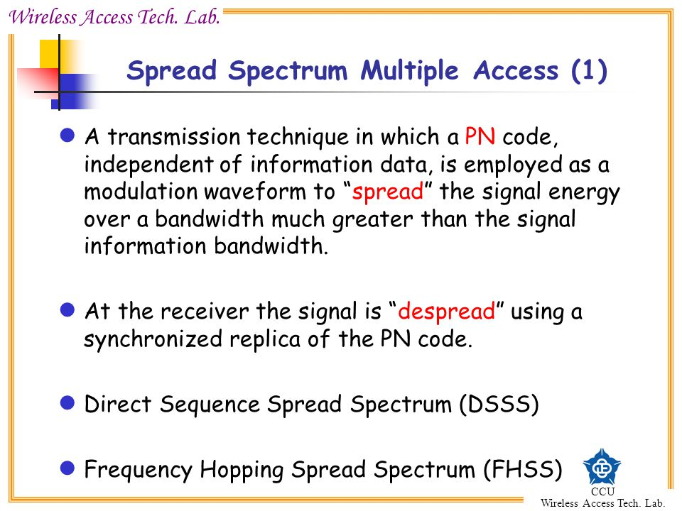 Spread Spectrum Multiple Access (1)