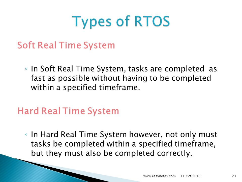 Types of RTOS Soft Real Time System Hard Real Time System