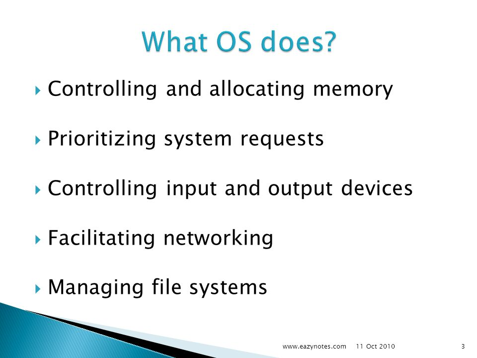 What OS does Controlling and allocating memory