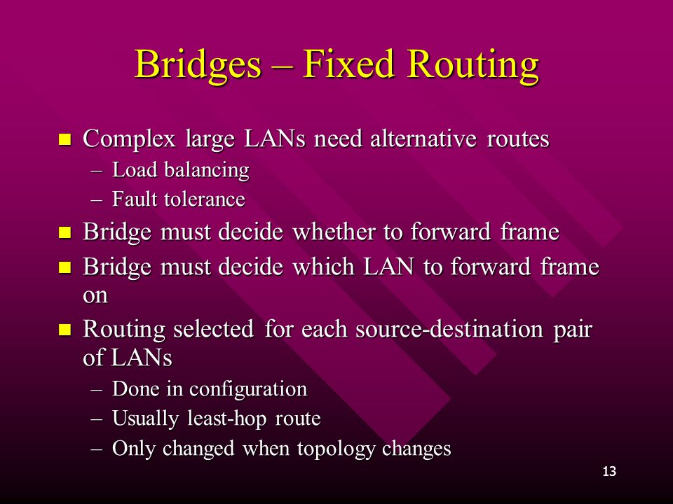 Bridges – Fixed Routing
