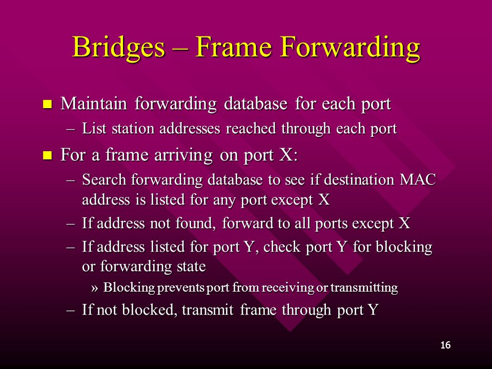 Bridges – Frame Forwarding