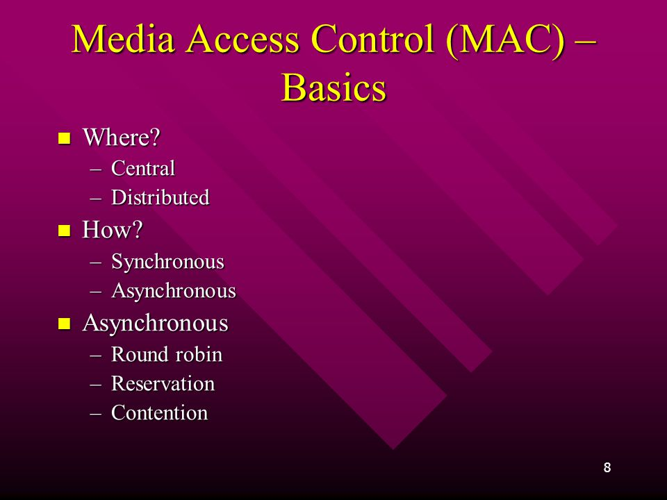 Media Access Control (MAC) – Basics