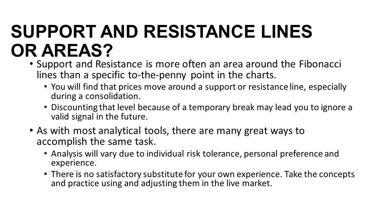 SUPPORT AND RESISTANCE LINES OR AREAS