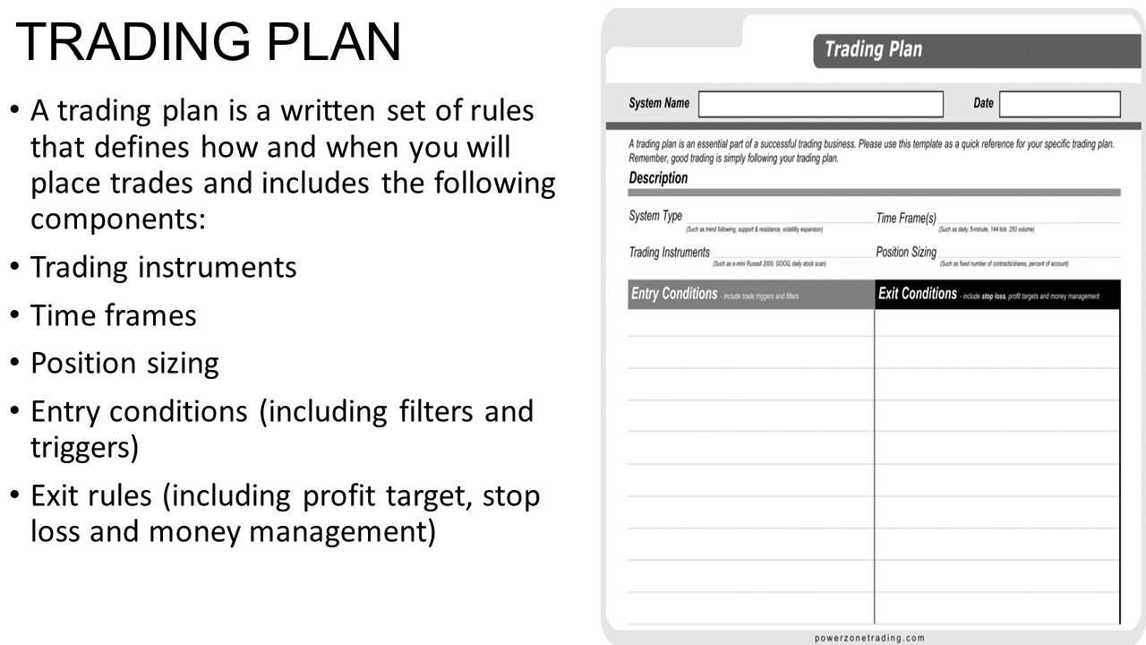 TRADING PLAN A trading plan is a written set of rules that defines how and when you will place trades and includes the following components: