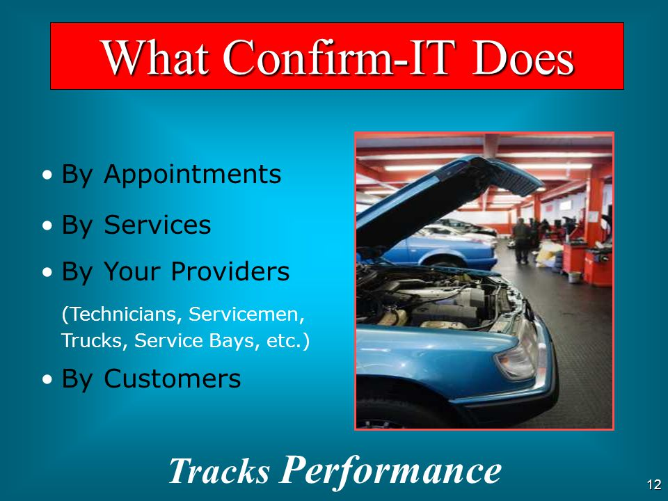 What Confirm-IT Does Tracks Performance By Appointments By Services