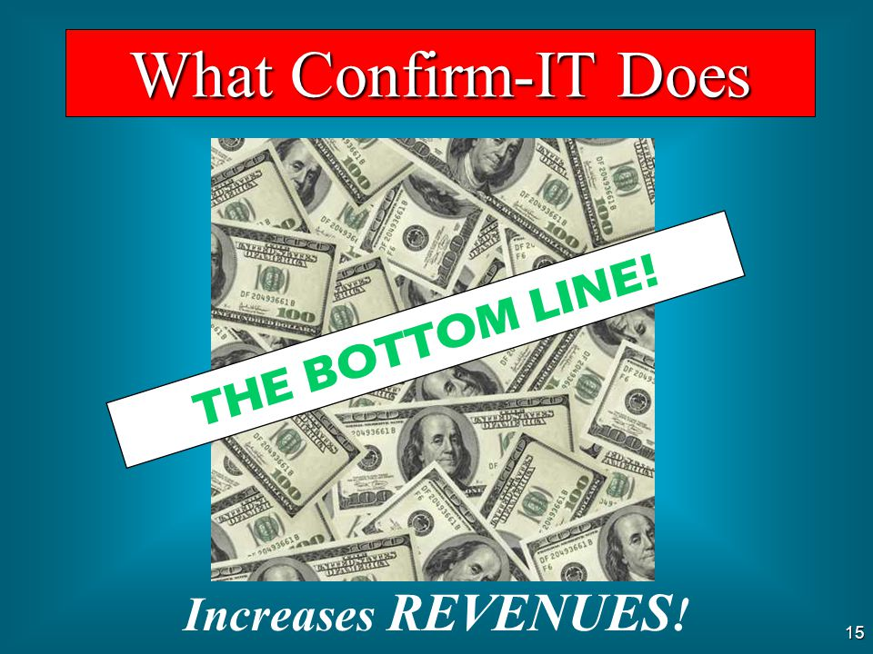 What Confirm-IT Does THE BOTTOM LINE! Increases REVENUES!