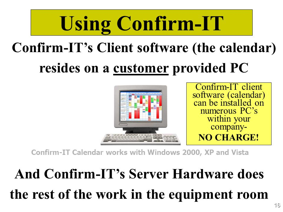Using Confirm-IT Confirm-IT's Client software (the calendar) resides on a customer provided PC.