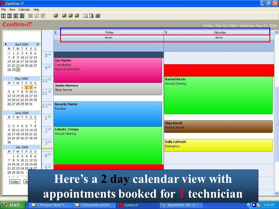 Here's a 2 day calendar view with appointments booked for 1 technician