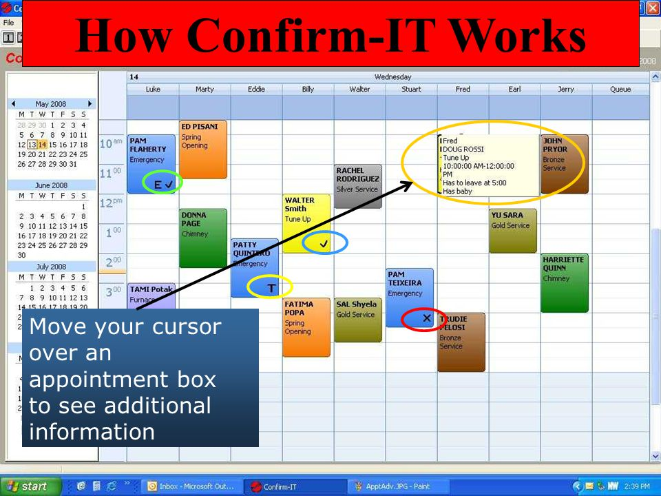How Confirm-IT Works Move your cursor over an appointment box to see additional information. Icons appear in each appointment.