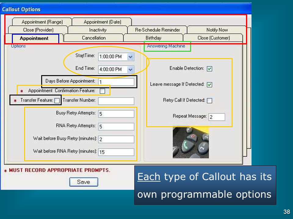 Each type of Callout has its own programmable options