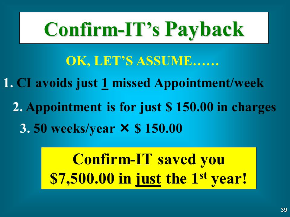 Confirm-IT saved you $7,500.00 in just the 1st year!